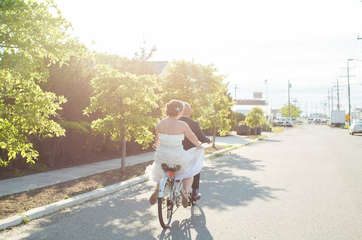 Just Married Tandem Bicycle Ride to the Reception