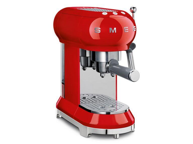 Red reto style espresso coffee machine