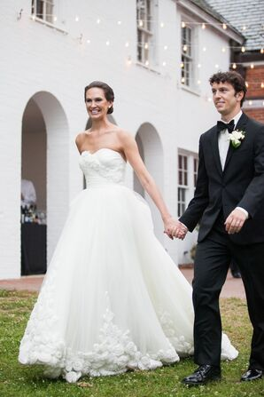 Tulle Rose-Embellished Wedding Gown