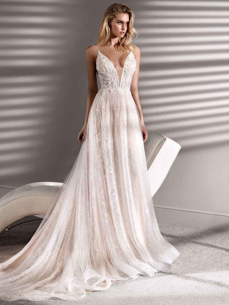 Nicole Couture Spring 2020 Bridal Collection A-line wedding dress with spaghetti straps and sweetheart neckline