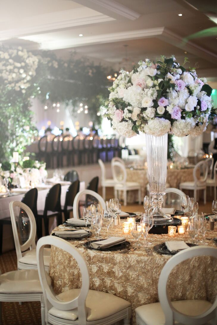 Tall Clear Centerpiece with White Roses and Hydrangeas