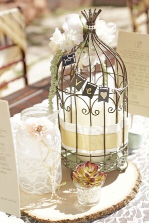 Mismatched Vintage Centerpiece on Wooden Slab