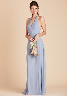 Birdy Grey Moni Convertible Dress in Dusty Blue Halter Bridesmaid Dress