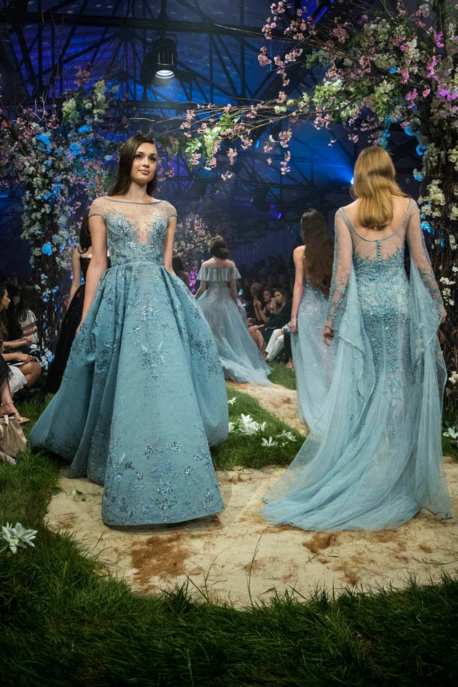 Paolo Sebastian Disney gowns with sheer overlay
