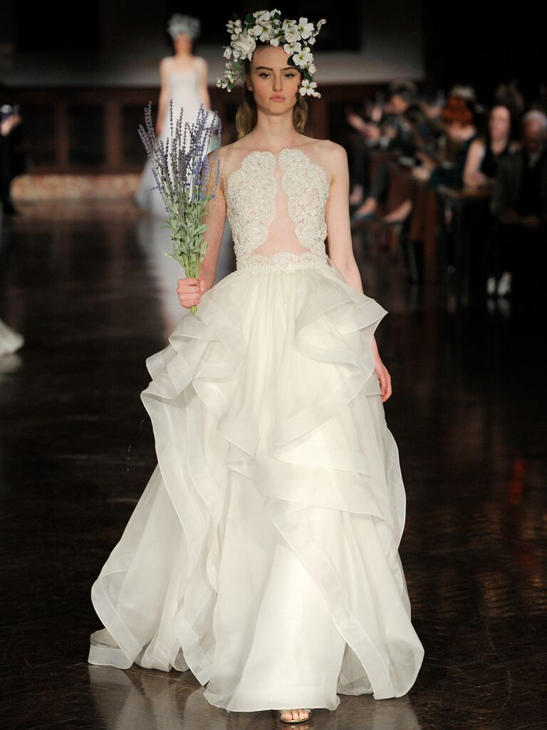 Reem Acra Spring 2019 wedding dress with ruffled ball gown