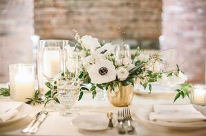 Low White Floral Centerpiece in Gold Vase