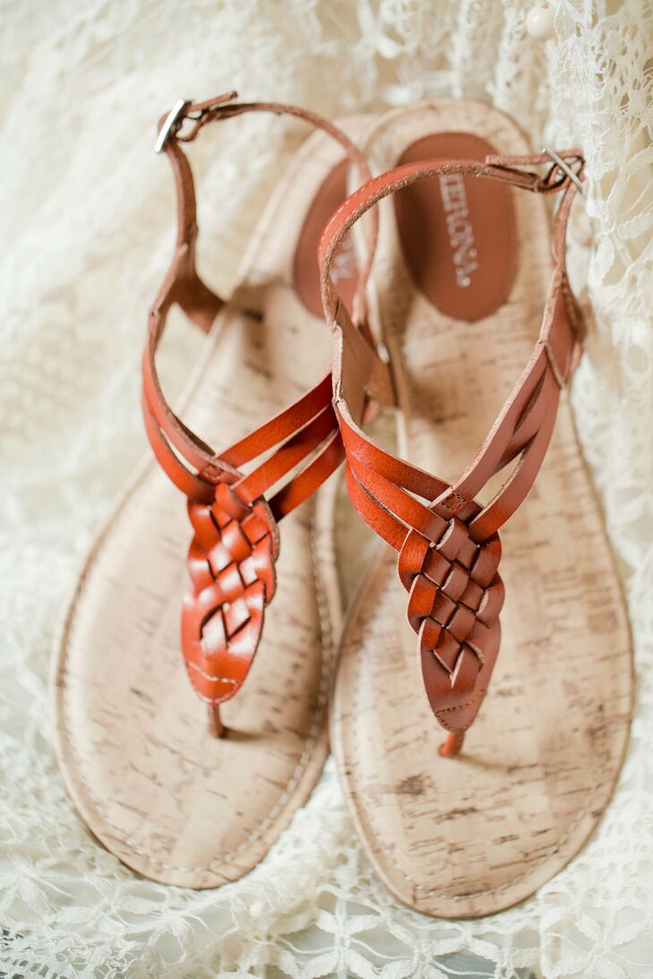 Orange Woven Middle on Brown Sandals