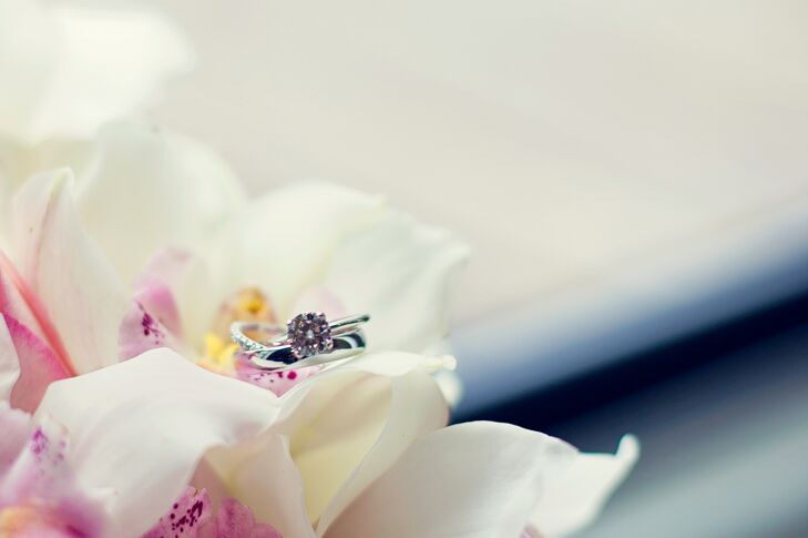 Round Cut Diamond Ring with Orchids