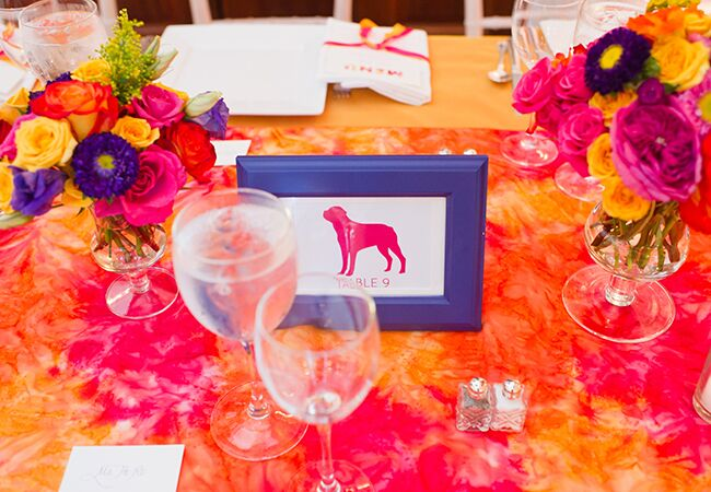 patterned tablecloths | Lisa Boggs Photography | blog.theknot.com