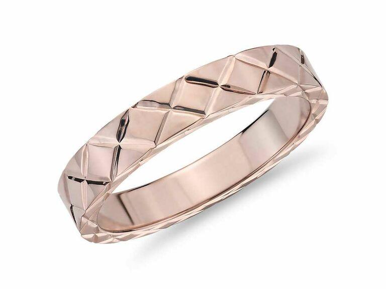 engraved rose gold engagement ring for men
