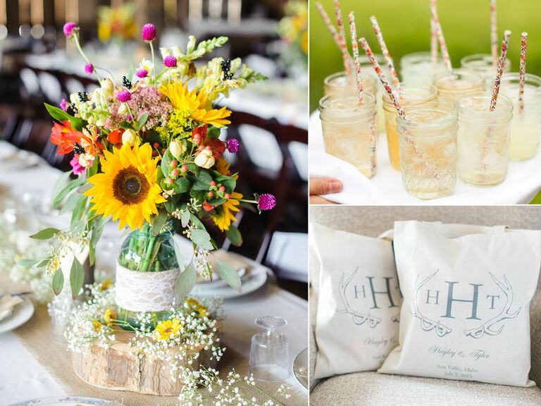 Floral centerpiece, welcome bags and drinks