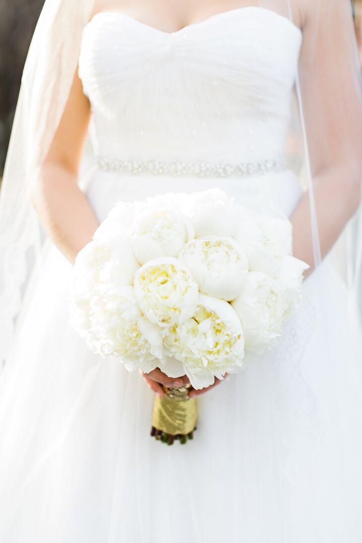 Lush White Peony Wedding Bouquet