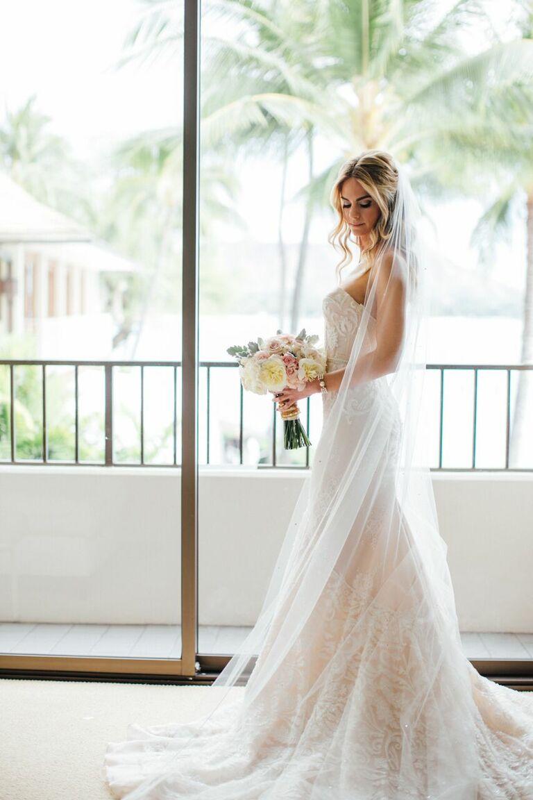 Kelly Kruger in Inbal Dror blush strapless wedding dress
