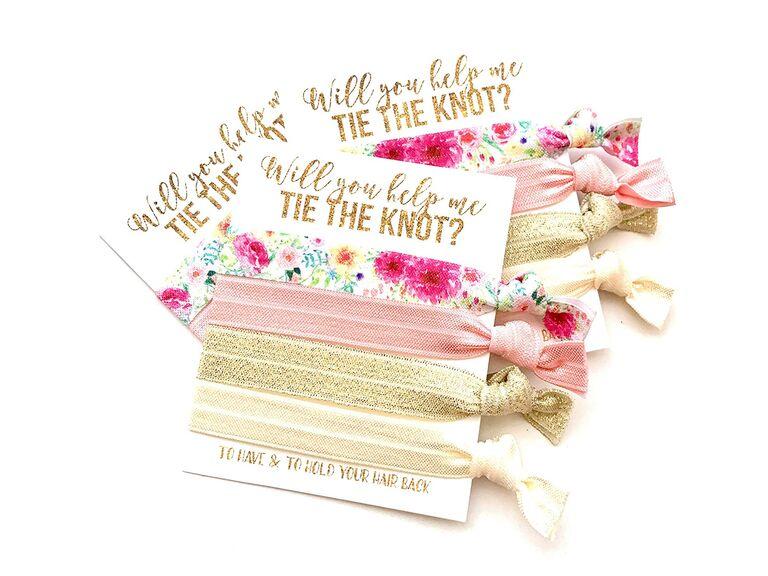 bridesmaid proposal gift hair ties
