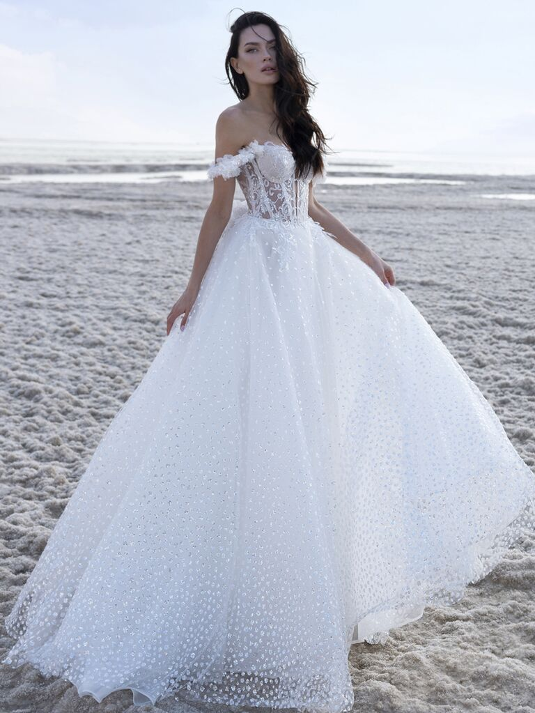 Pnina Tornai Spring 2020 Bridal Collection off-the-shoulder A-line wedding dress with sequin embroidery and corset bodice