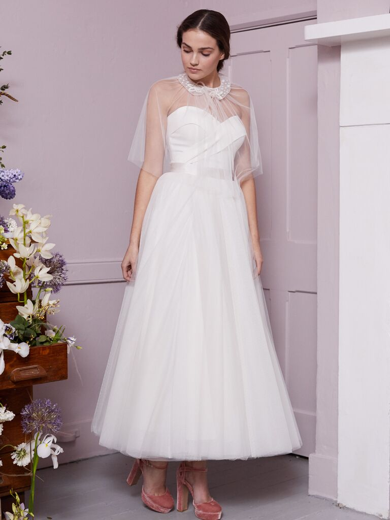 Halfpenny London 2020 Bridal Collection strapless A-line sweetheart tea-length wedding dress with sheer capelet