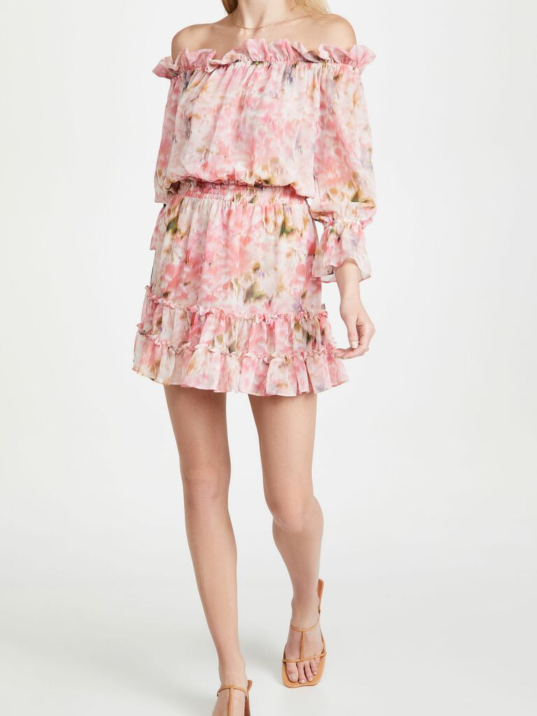 pink floral mini dress with off the shoulder sleeves