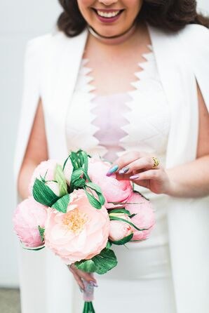 Lush, Pink Crepe Paper Bouquet Made by Mazziflowers