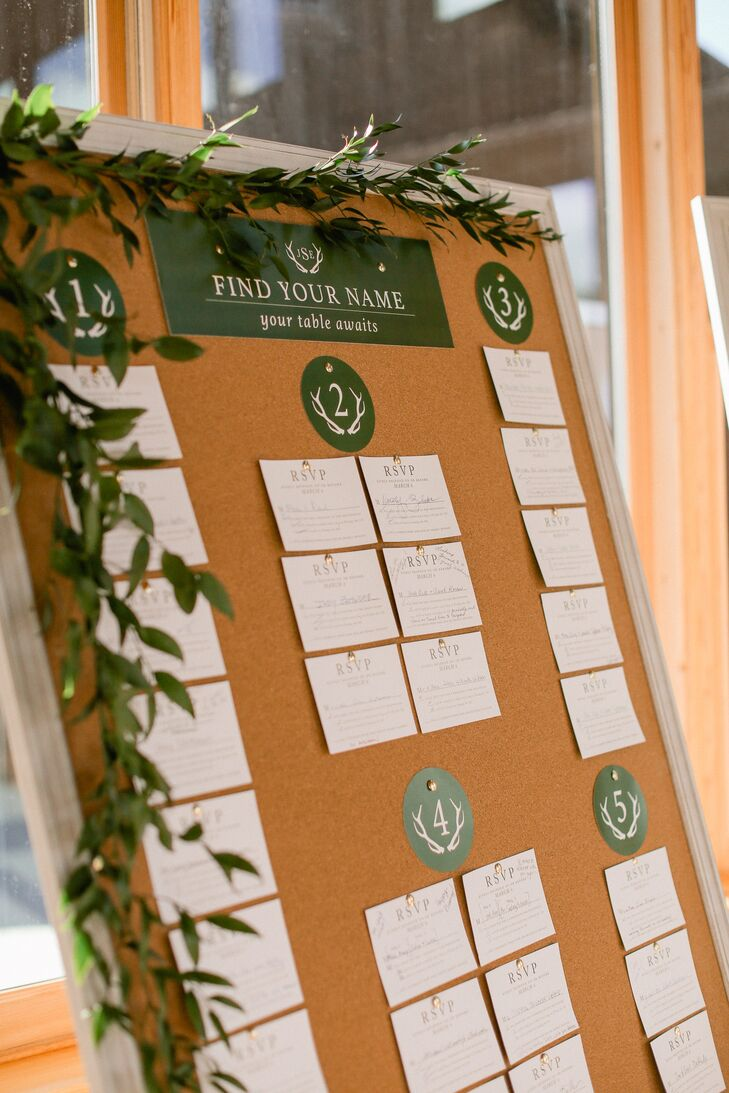 Escort cards were RSVP cards mailed back from guests, a twist on what is traditionally done for seating assignments—with names guaranteed to be spelled correctly!
