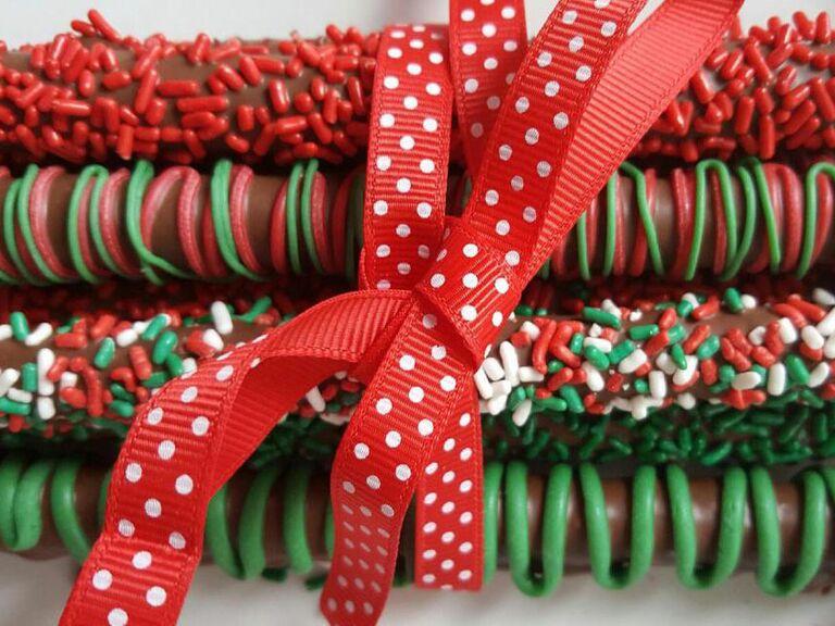 winter wedding chocolate covered pretzel sticks
