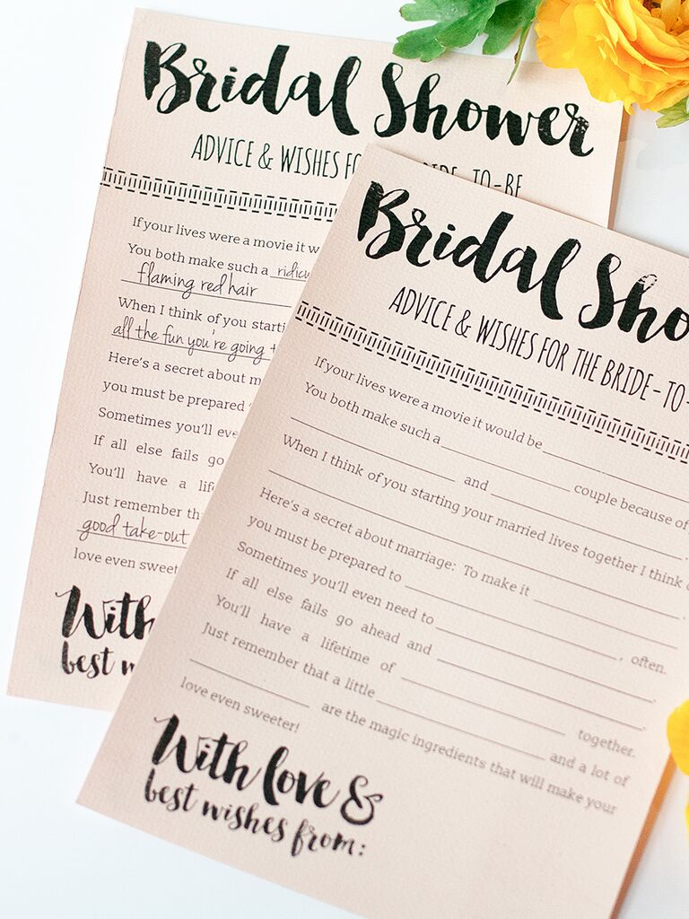 printable bridal shower advice cards