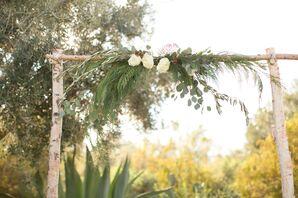 Natural Wooden Winter Wedding Arch