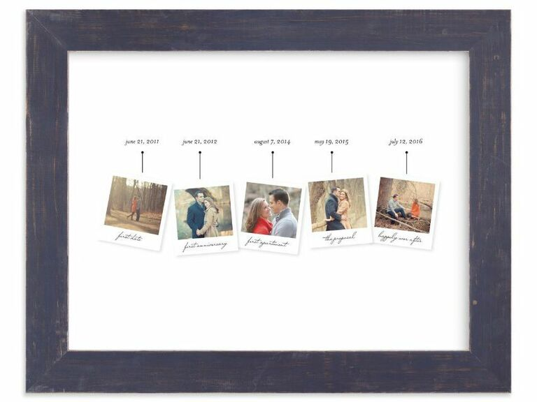 Framed photo art with five pictures for different milestones on a timeline