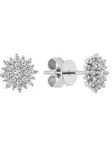 Shane Co. Diamond Cluster Earrings 14k White Gold Wedding Earring photo