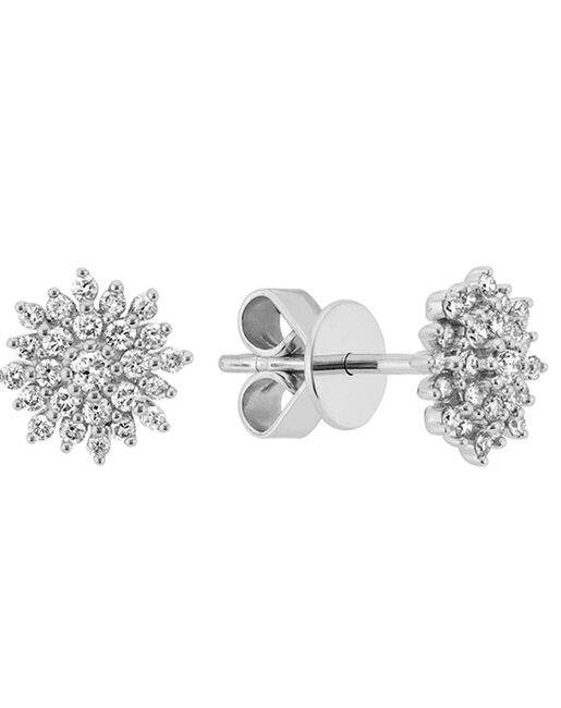 0364d09fa020f Diamond Cluster Earrings 14k White Gold