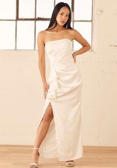 Lulus My Vows to You White Satin Ruffled Strapless Maxi Dress Sheath Wedding Dress