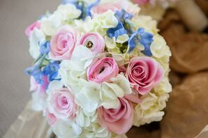 Bridesmaid Bouquet with Accents of Pink and Light Blue