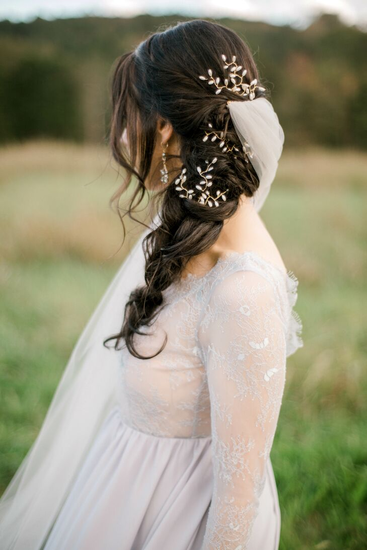 Bohemian Bride with Fishtail Braid, Floral Headpiece and Lavender Dress