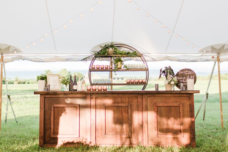 Rustic Vermont Tented Reception with Wood Bar