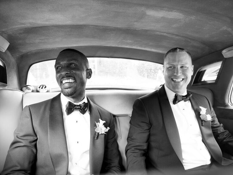 Grooms driving to wedding