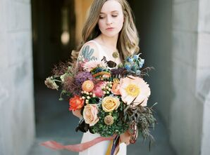 Colorful Bouquet at Elopement in Bowling Green, Kentucky