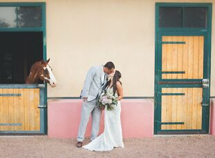 Rosalyn Saiz (24 and a photographer) and Aaron Moorehead (34 and wide receivers coach for Texas A&M) knew they would marry at La Mesita Ranch from the