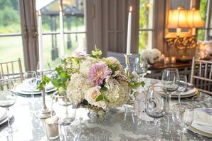 Romantic Hydrangea and Dahlia Centerpieces