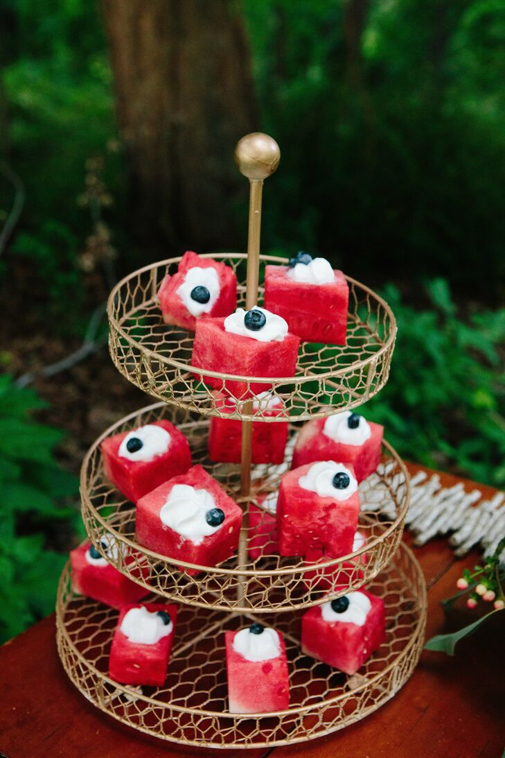 Slices of a no bake watermelon cake were offered to guests as a healthy sweet treat.
