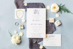 Elegant Wedding Invitations with Purple Calligraphy and Monogram