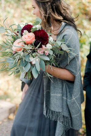 Oversized Bouquet of Eucalyptus, Burgundy Dahlias and Pink Peonies