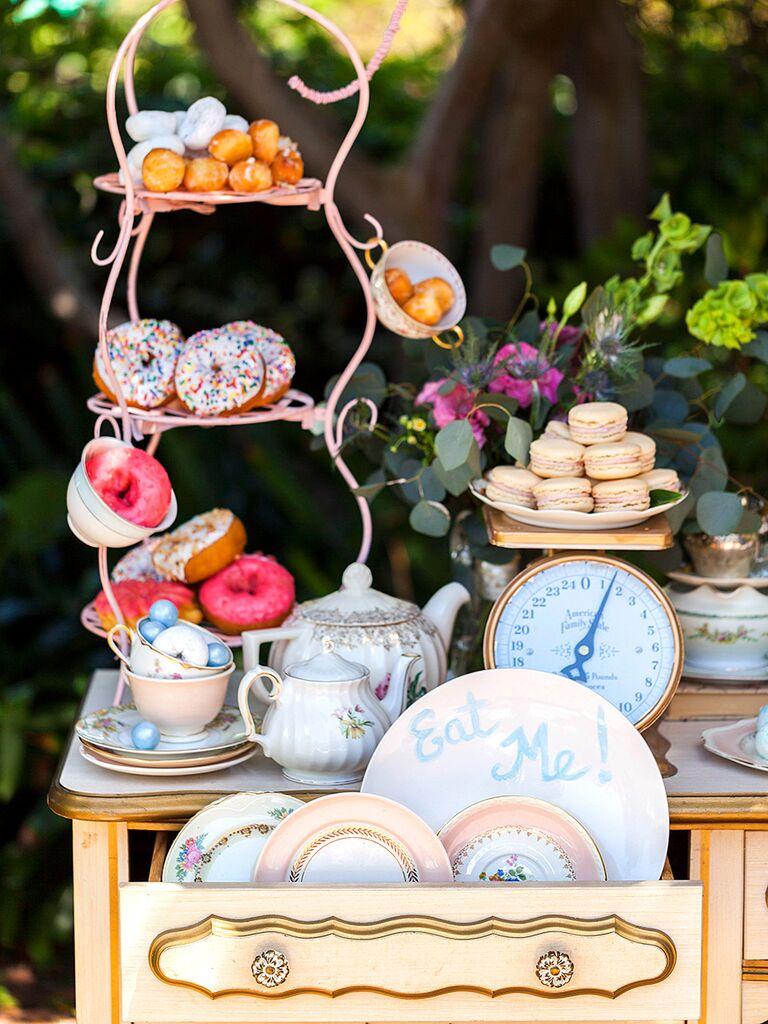 Wonderland-themed dessert station