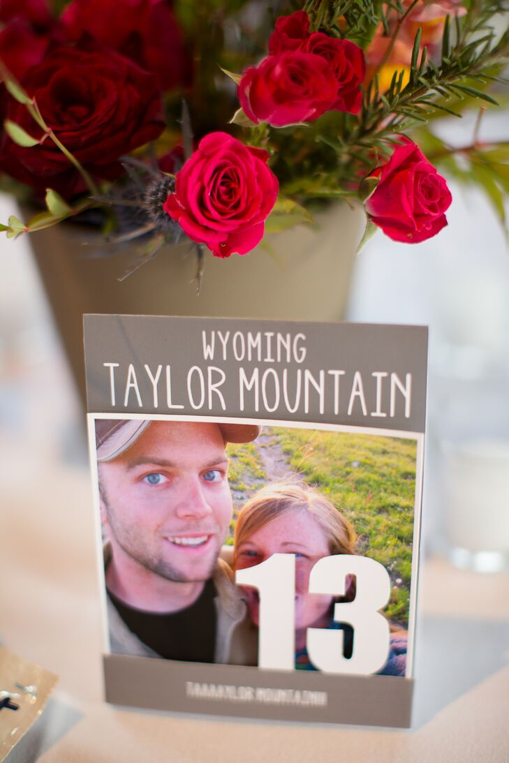 Guests easily found their assigned tables thanks to personalized numbers featuring photographs of the bride and groom from throughout their relationship.