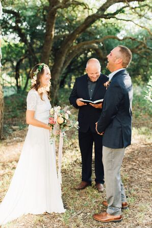 Couple at Intimate Outdoor Elopement with Officiant