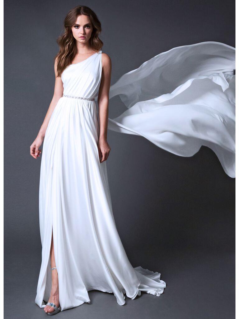 ROMONA New York RB025 one-shoulder draped wedding dress