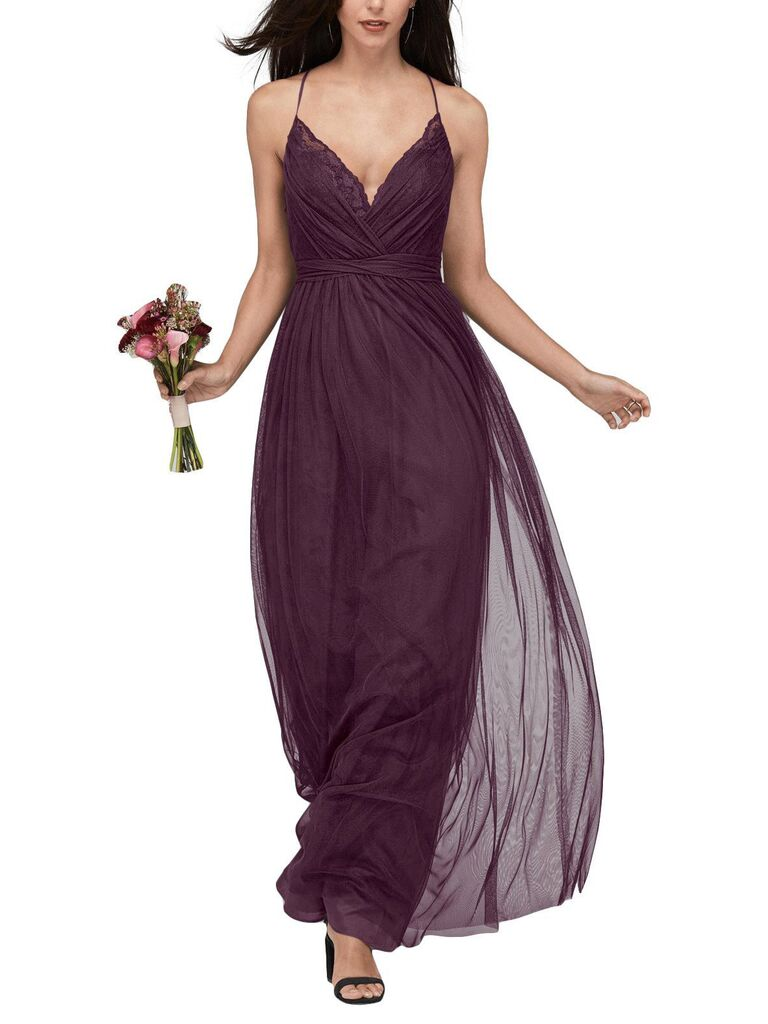 Eggplant lace bridesmaid dress