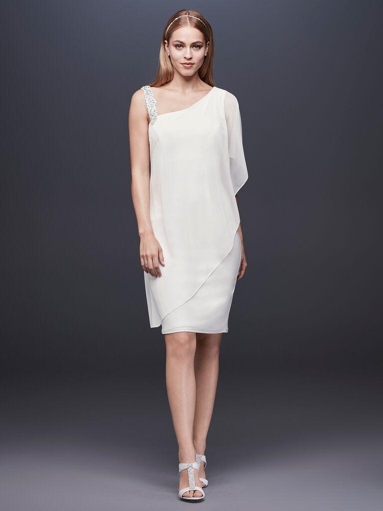 df998fae48ff4 DB Studio Spring 2019 draped asymmetrical short wedding gown
