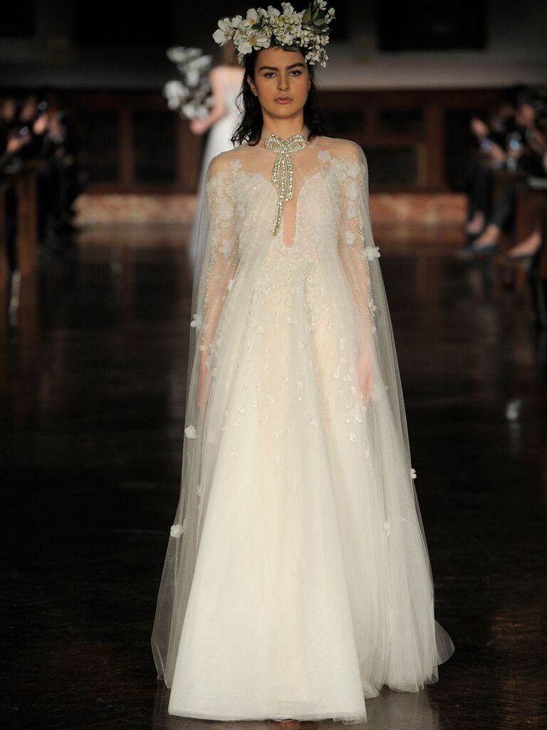 Reem Acra Spring 2019 wedding dress with sheer embroidered cape