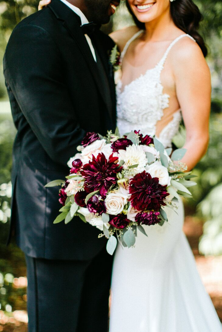 Ivory and Burgundy Bouquet of Roses, Ranunculus and Dahlias