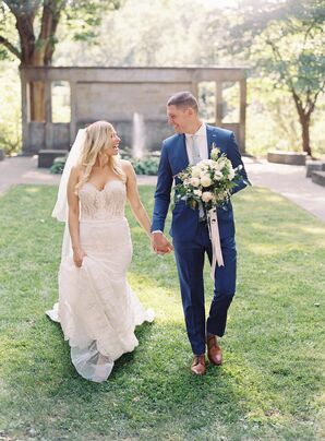 Groom in Blue Suit and Bride in Lace Mermaid Gown