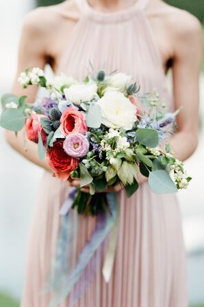 Pastel Bouquet with Garden Roses and Ribbon Wrap
